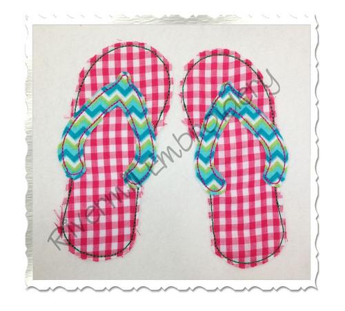 Raggy Applique Flip Flops Machine Embroidery Design