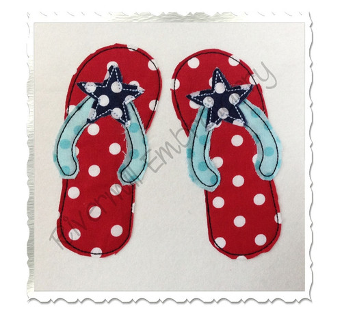 Raggy Applique Star Flip Flops Machine Embroidery Design
