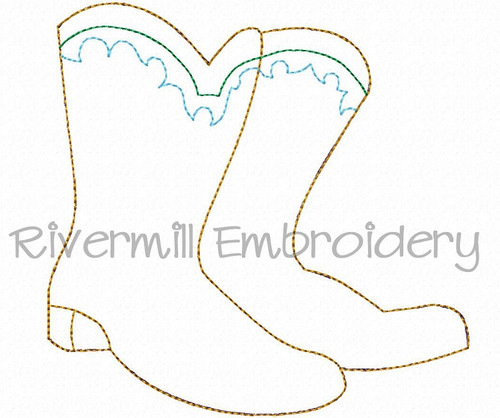 Raggy Applique Cowboy Boots Machine Embroidery Design