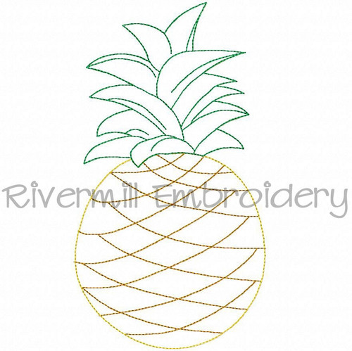 Raggy Applique Pineapple Machine Embroidery Design