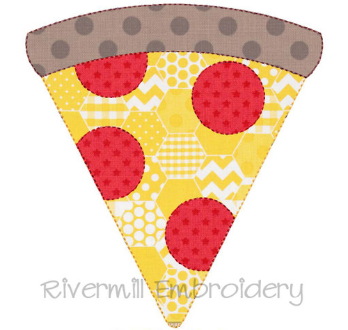 Raggy Applique Slice of Pepperoni Pizza Machine Embroidery Design