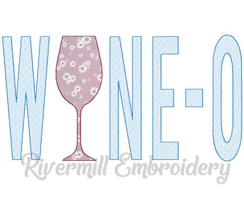 Raggy Applique Wine-O Machine Embroidery Design