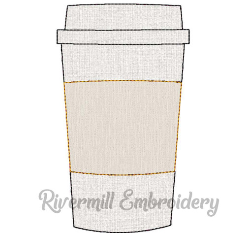 Raggy Applique Coffee Cup Machine Embroidery Design