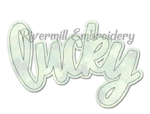 Raggy Applique Script Lucky Machine Embroidery Design