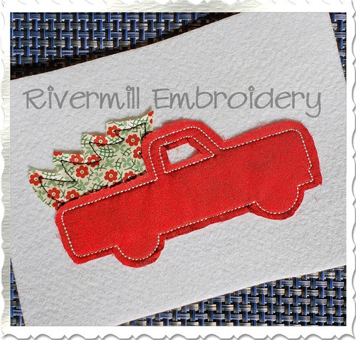 Raggy Applique Truck w/ Christmas Tree Machine Embroidery Design