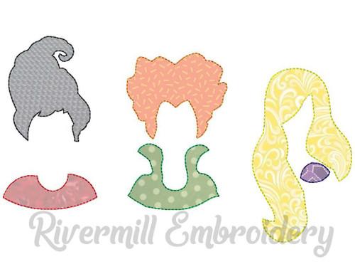 Three Witches Raggy Applique Halloween Machine Embroidery Design