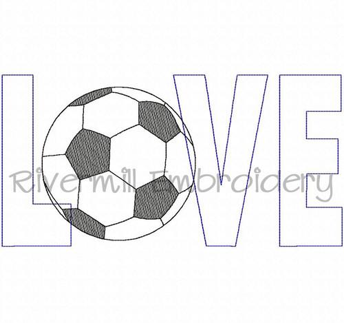 Raggy Applique Soccer Love Machine Embroidery Design