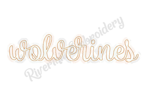 Raggy Applique Script Wolverines Machine Embroidery Design