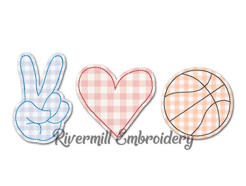 Raggy Applique Peace Love Basketball Machine Embroidery Design