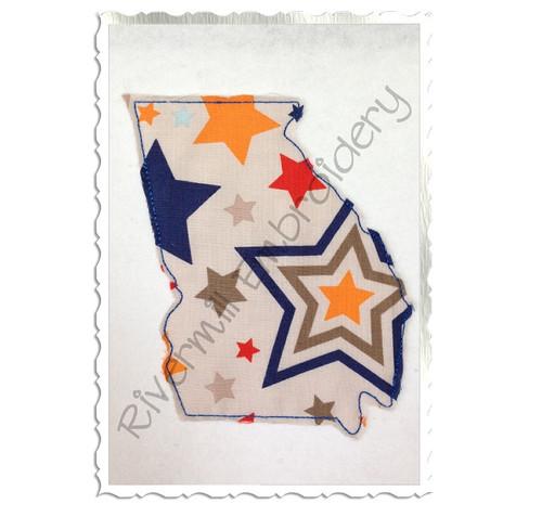 Raggy Applique State of Georgia Machine Embroidery Design