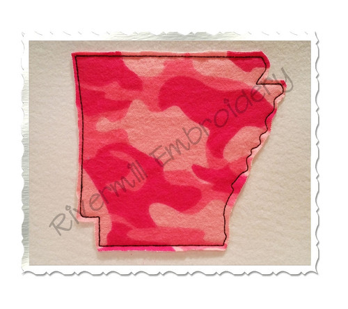 Raggy Applique State of Arkansas Machine Embroidery Design
