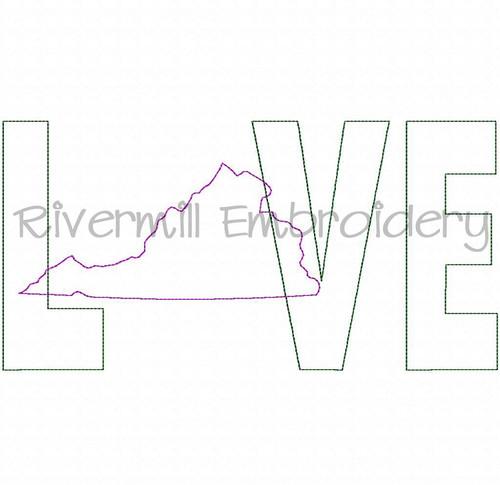 Raggy Applique Virginia Love Machine Embroidery Design