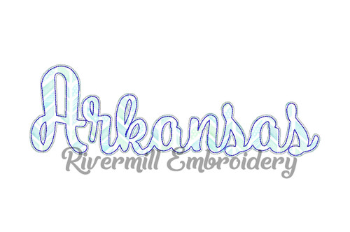 Raggy Applique Script Arkansas Machine Embroidery Design