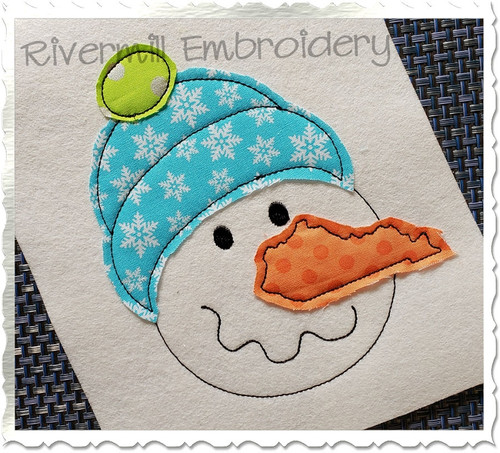Raggy Applique Kentucky Nose Snowman Machine Embroidery Design