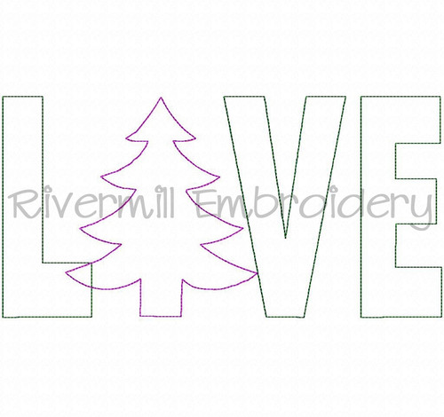 Raggy Applique Christmas Tree Love Machine Embroidery Design