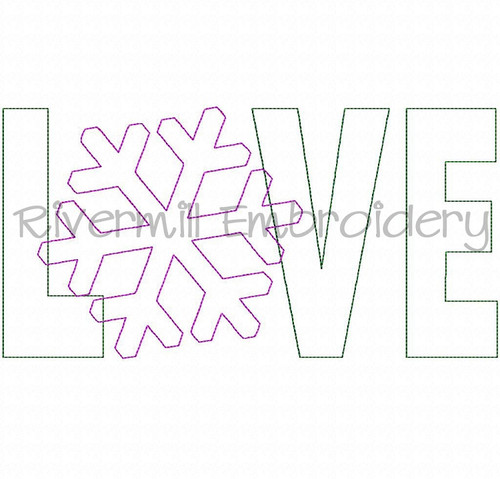 Raggy Applique Snowflake Love Machine Embroidery Design