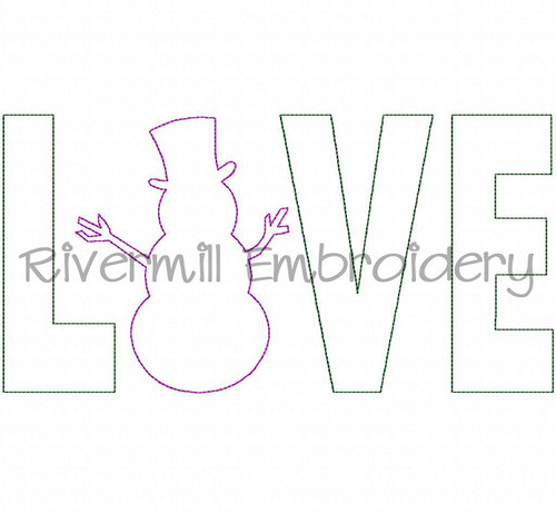 Raggy Applique Snowman Love Machine Embroidery Design