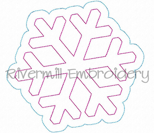 Raggy Double Applique Snowflake Machine Embroidery Design