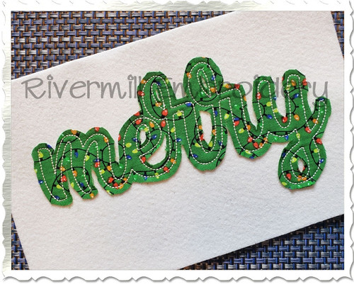 Raggy Applique Merry Machine Embroidery Design