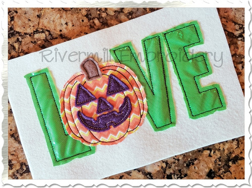 Raggy Applique Jack O Lantern Love Machine Embroidery Design
