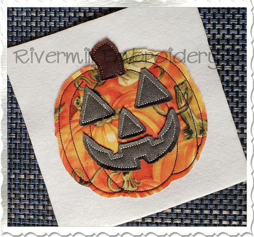 Raggy Applique Jack O Lantern Machine Embroidery Design