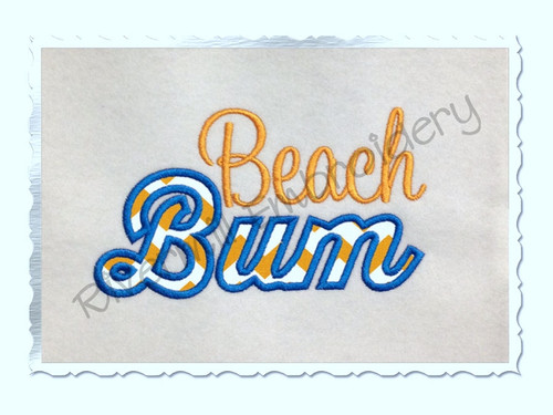 Applique Beach Bum Machine Embroidery Design