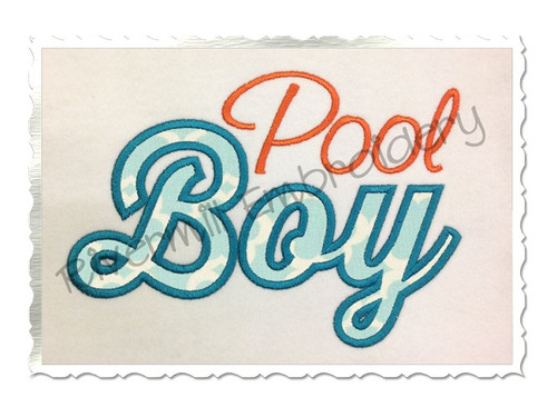 Applique Pool Boy Machine Embroidery Design