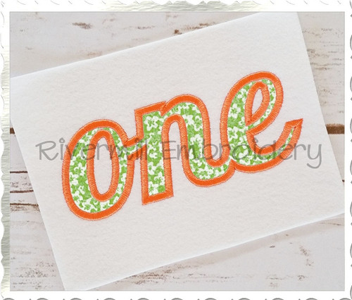 "Applique Word ""One"" Machine Embroidery Design"