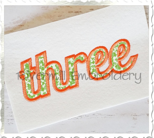 "Applique Word ""Three"" Machine Embroidery Design"