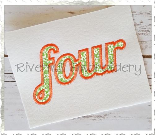 "Applique Word ""Four"" Machine Embroidery Design"
