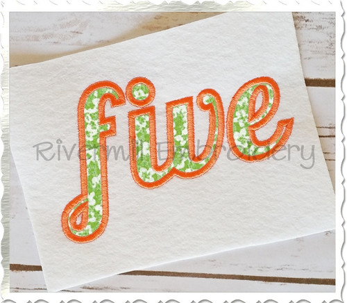 "Applique Word ""Five"" Machine Embroidery Design"