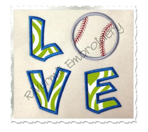 Square Baseball Love Applique Machine Embroidery Design