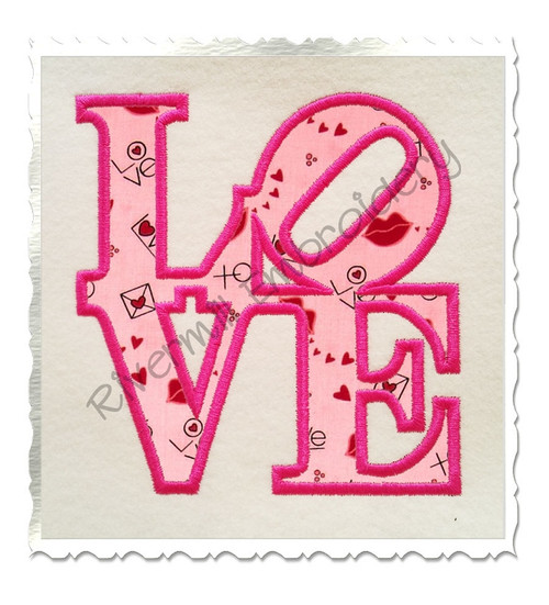 Love Applique Machine Embroidery Design (Version 2)