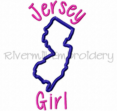 Applique Jersey Girl Machine Embroidery Design
