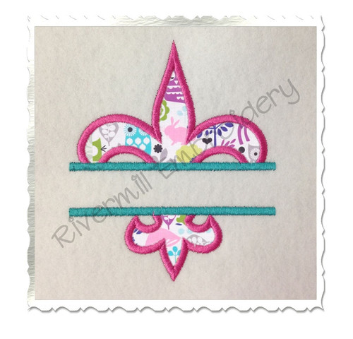 Split Applique Fleur De Lis Machine Embroidery Design