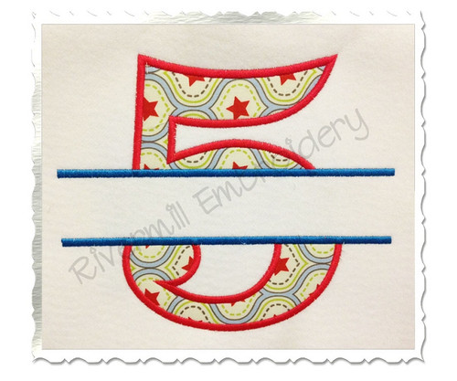 Split Applique Numbers Machine Embroidery Design