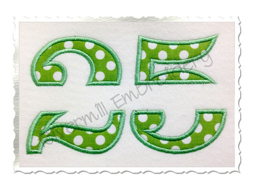 Split Applique Numbers Machine Embroidery Design (No Bars)