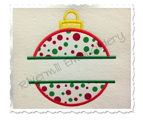 Split Applique Christmas Ornament Silhouette Machine Embroidery Design