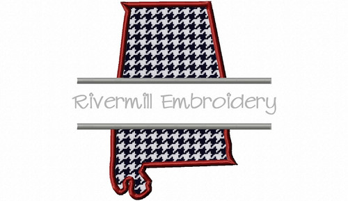 Split Applique State of Alabama Machine Embroidery Design
