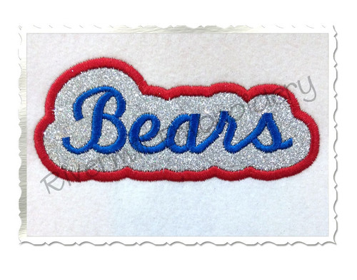 Applique Bears Team Name Machine Embroidery Design