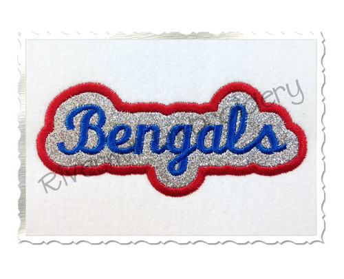 Applique Bengals Team Name Machine Embroidery Design