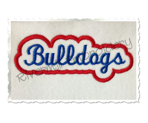 Applique Bulldogs Team Name Machine Embroidery Design