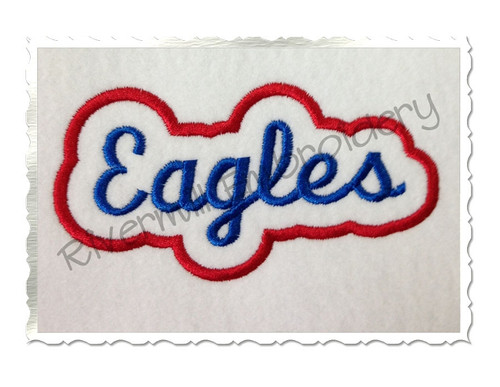 Applique Eagles Team Name Machine Embroidery Design