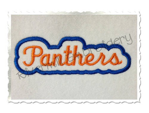 Applique Panthers Team Name Machine Embroidery Design