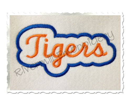 Applique Tigers Team Name Machine Embroidery Design