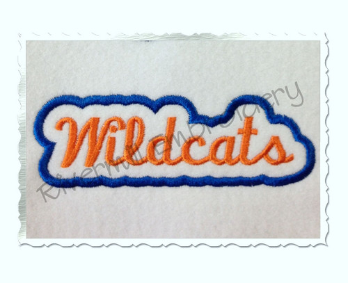 Applique Wildcats Team Name Machine Embroidery Design