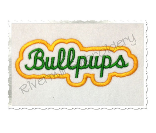 Applique Bullpups Team Name Machine Embroidery Design