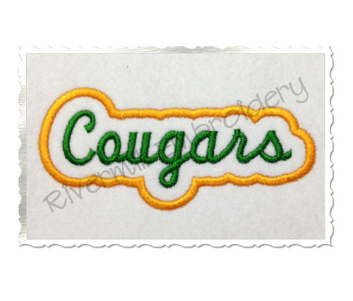 Applique Cougars Team Name Machine Embroidery Design