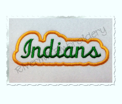 Applique Indians Team Name Machine Embroidery Design
