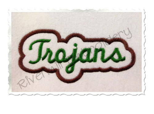Applique Trojans Team Name Machine Embroidery Design